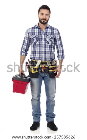 Handyman with toolbox - stock photo