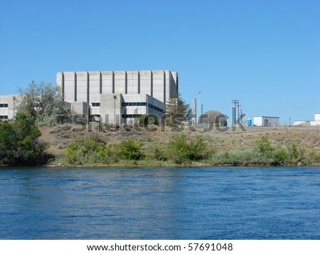 hanford nuclear reactor on columbia river - stock photo