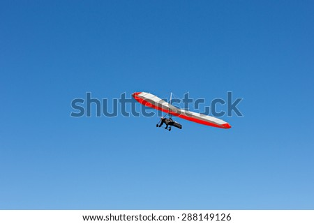 Hang gliding action - stock photo