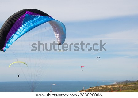 Hang Gliding over La Jolla/Para Sailing/Late afternon Para gliding over La Jolla California - stock photo