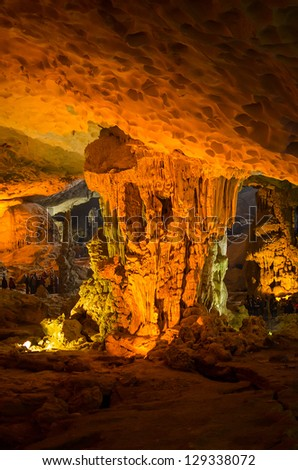 Hang Sung Sot Grotto (Cave of Surprises), Halong Bay, Vietnam - stock photo