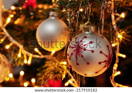 hang up christmas decoration - stock photo