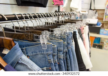 Hanger pants and skirts for women - stock photo