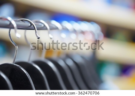 Hangers at a clothing store - stock photo