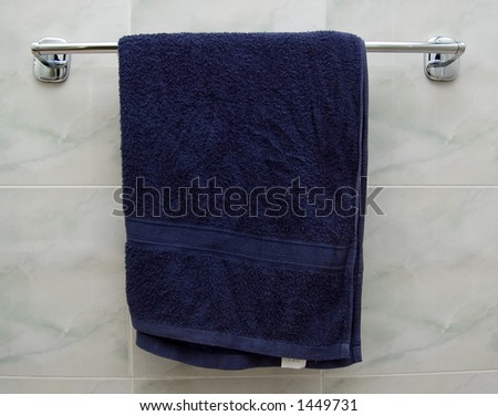 Hanging Blue Towel - stock photo
