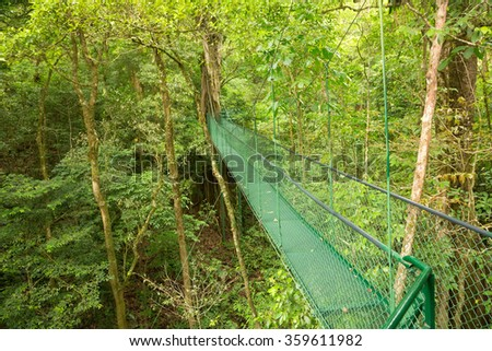 Hanging bridge, Costa Rica - stock photo