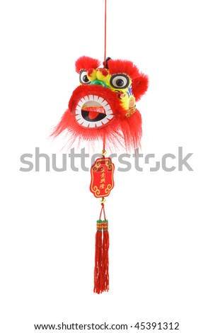 Hanging Chinese new year lion head ornament on white background - stock photo