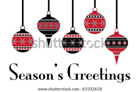 Hanging Christmas baubles, Stencil effect. Also available in vector format. - stock photo