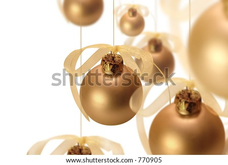 Hanging Christmas bulbs. - stock photo