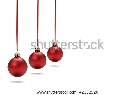 hanging christmas ornament/ornaments on white background, soft shadow at bottom, plenty of copy space
