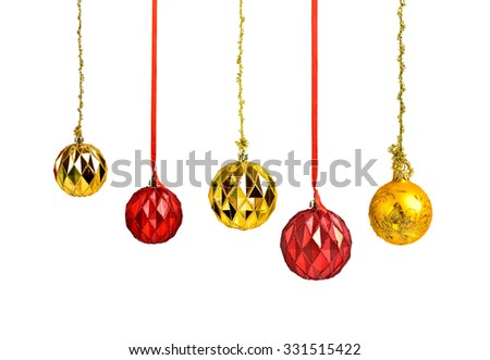 Hanging christmas red and golden holiday balls isolated - stock photo