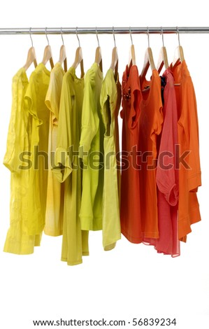 Hanging colored Tee shirts