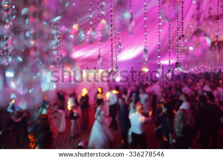 hanging crystals from the chandelier - stock photo