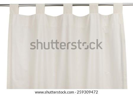 Hanging curtain isolated on white background - stock photo