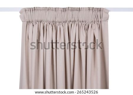 Hanging curtain on white isolated background - stock photo