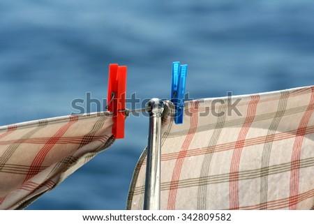 Hanging dishcloth - stock photo