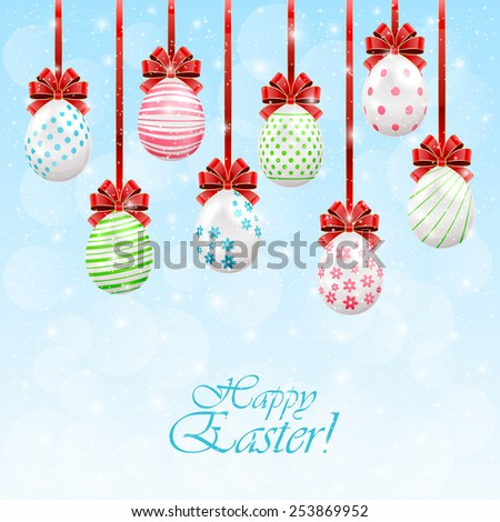 Hanging Easter eggs with red bow on sunny background, illustration. - stock photo