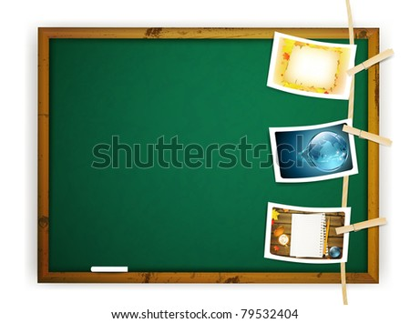 Hanging educational photos pinned to a Rope near school blackboard over white - stock photo