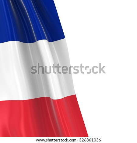Hanging Flag of France - 3D Render of the French Flag Draped over white background with copyspace for text - stock photo
