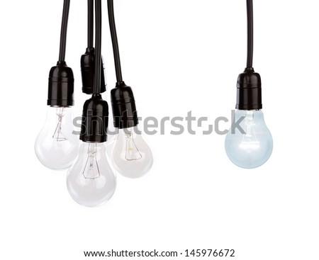 Hanging light bulbs - stock photo