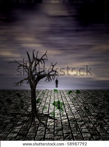 Hanging Man in Surreal Scene - stock photo