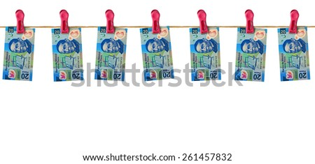 Hanging Mexican Money - stock photo