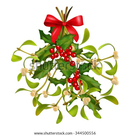 Hanging Mistletoe and Holly bouquet with red bow on a white background. Christmas traditional symbol  - stock photo