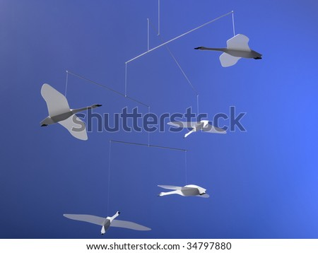Hanging mobile with origami geese - stock photo