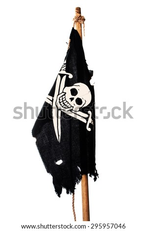 Hanging no wind pirate flag on the mast. Isolated on white - stock photo