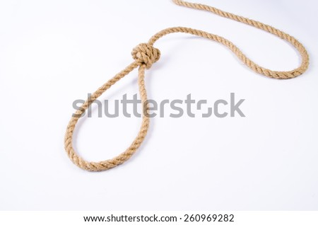 Hanging noose on white background