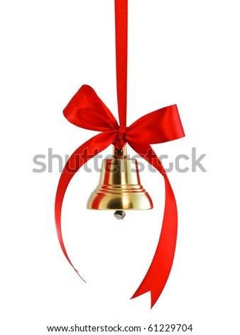 Hanging on a ribbon golden bell with red satin bow isolated on white - stock photo
