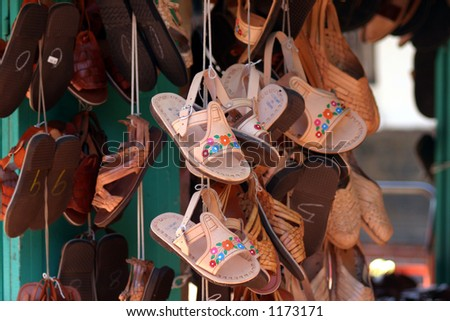 hanging sandals - stock photo