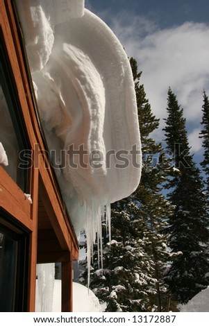 Hanging Snow Cornice On Roof