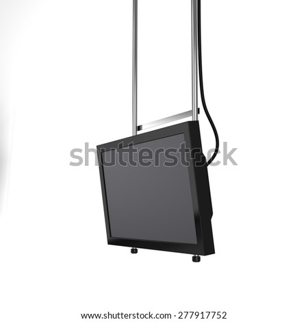 hanging tv display from perspective isolated - stock photo