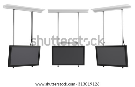 hanging tv displays from front and side view isolated - stock photo