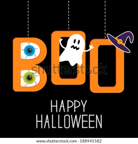 Hanging word BOO with ghost, eyeballs and witch hat . Happy Halloween card. Rasterized copy - stock photo
