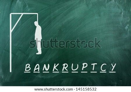 Hangman game on green chalkboard ,concept of bankruptcy - stock photo