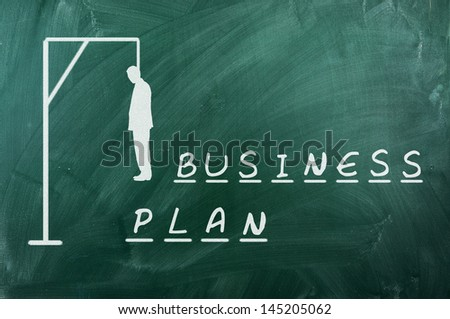 Hangman game on green chalkboard ,concept of failure of business plans - stock photo