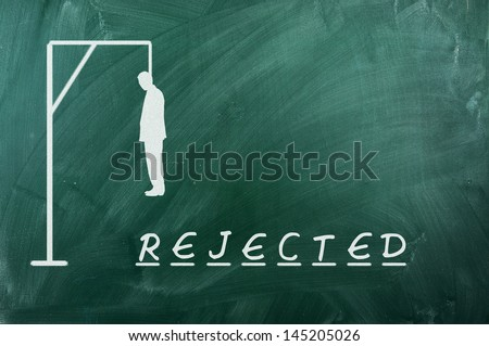 Hangman game on green chalkboard ,concept of rejection - stock photo