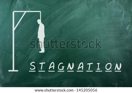 Hangman game on green chalkboard ,concept of stagnation - stock photo