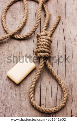 hangman's knot on board - stock photo