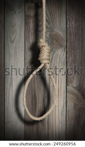 Hangman's rope in the darkness - stock photo