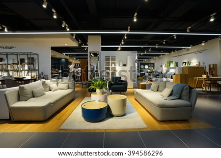 Hangzhou.China-MAR 21, 2016:home furnishing store interior. In Hangzhou city of China. - stock photo