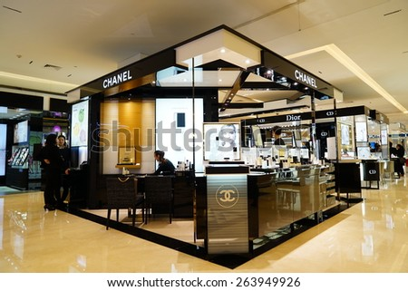 HANGZHOU-MAR. 26, 2015. Luxury shopping mall interior. China accounts for about 20 percent, or 180 billion renminbi ($27 billion1 ) of global luxury sales in 2015, according to new McKinsey research. - stock photo