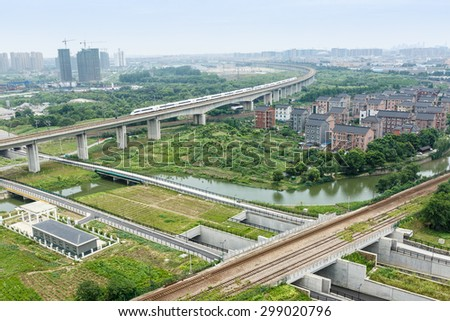 Hangzhou suburbs aerial view in China