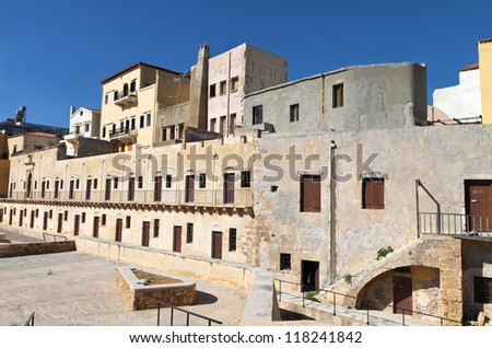 Hania city and the old Venetian fortress at Crete island in Greece - stock photo
