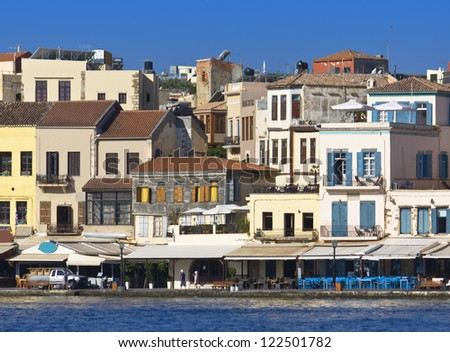 Hania city and the old Venetian port at Crete island in Greece - stock photo