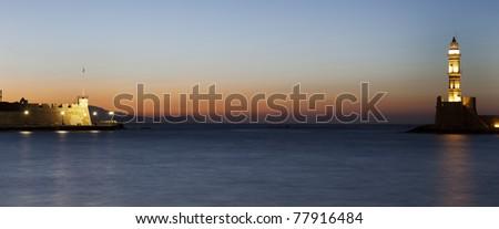 Hania lighthouse and venetian fortress. - stock photo
