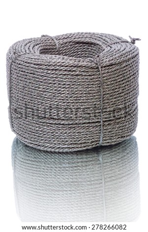 Hank durable nylon cord  isolated on a white background - stock photo