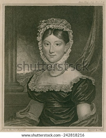 Hannah Thatcher, a deaf-mute presented to the Queen Charlotte of Britain, after she acquired the faculty of speech under treatment of Mr. Wright, her Majesty's Surgeon.